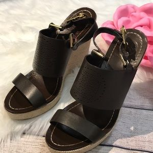 Tory Burch Brown wedge sandals size 7.5